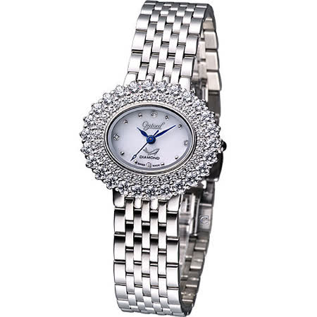 Ogival 愛其華 高雅粉紅薔薇 時尚腕錶-(380-03DLS)橢圓白色