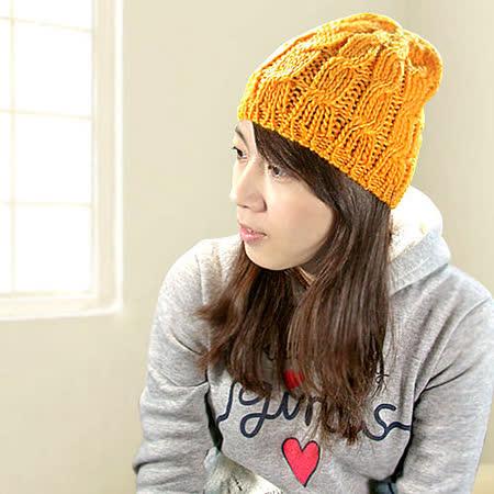 《Decoy》橘調波紋彈性手勾毛線帽
