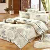 Joy bed【花季戀曲-灰】雙人鋪棉八件式床罩組(台灣製)