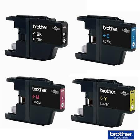 【原廠】Brother LC-73 黑/藍/紅/黃四色組墨水匣 《標準》