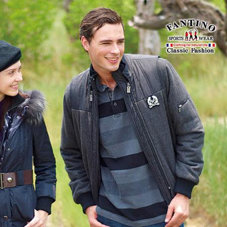【FANTINO】男裝 兩件式保暖防風羊毛外套/背心可拆(黑色)145314