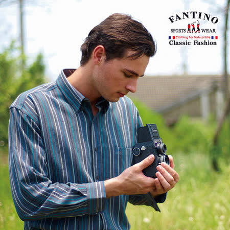 【FANTINO】男裝 奧地利進口素材經典款帥氣直條紋休閒襯衫(鐵灰)144512