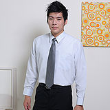 JIA HUEI 長袖男仕吸濕排汗防皺襯衫 3158條紋灰 [台灣製造]