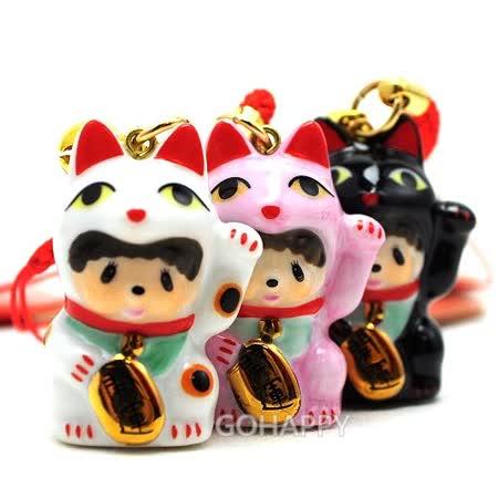 日本Sekiguchi夢奇奇MONCHHICHI【陶瓷開運招財貓】吊飾
