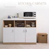 赫斯提亞時尚鏡面三門廚房收納櫃