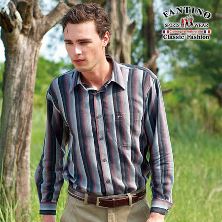 【FANTINO】男裝 奧地利進口布經典不敗款條紋休閒襯衫(紅黑色) 144508