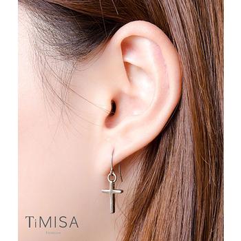 【TiMISA】迷你簡約十字 純鈦耳環一對