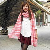 【Lus.G】韓系繽紛色彩暖呼呼毛線編織圍巾-粉色