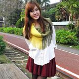 【Lus.G】暖冬印象雙色網格流蘇針織脖圍-黃色/綠色