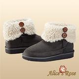 Alice's Rose外翻保暖毛毛雙扣增高短筒雪靴(灰色,共4色款)