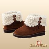 Alice's Rose外翻保暖毛毛雙扣增高短筒雪靴(咖啡色,共4色款)