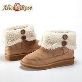 Alice's Rose外翻保暖毛毛雙扣增高短筒雪靴(駝色,共4色款