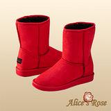 Alice's Rose百搭基本款超保暖-2穿反折中筒雪靴(紅色,共5色款)