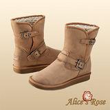 秋冬首選Alice'sRose率性騎士軍風扣環中靴(駝色,共4色款)