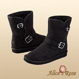秋冬首選Alice'sRose率性騎士軍風扣環中靴(黑色,共4色款)