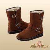 秋冬首選Alice'sRose率性騎士軍風扣環中靴(咖啡色,共4色款)