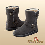 秋冬首選Alice'sRose率性騎士軍風扣環中靴(灰色,共4色款)