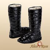 Alice's Rose亮面格紋長筒雪靴(黑色共4色款)