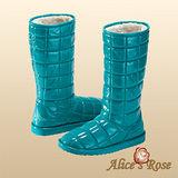 Alice's Rose亮面格紋長筒雪靴(松綠色,共4色款)