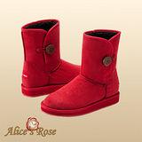Alice's Rose玫瑰花釦子裝飾中筒雪靴(紅色,共5色款)