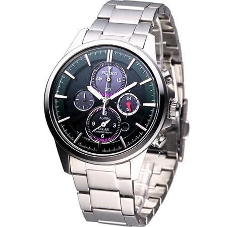 SEIKO Solar 太陽能科技 時尚腕錶-(V174-0AA0G)綠SBPY025J