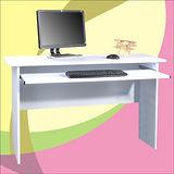 附鍵盤電腦桌/工作桌白色(寬122公分)