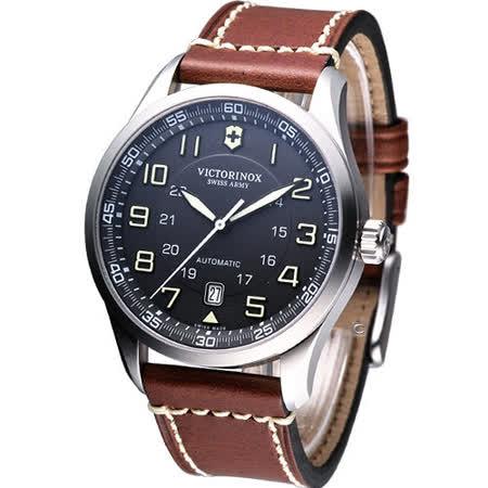 Victorinox Airboss 瑞士維氏 飛行家系列皮帶腕錶-(VISA-241507)黑面