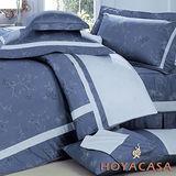HOYACASA 雀花-藍 雙人八件式六十支長絨棉床罩組