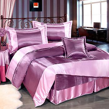 【Saebi-Rer_緞采風華.紫】加大五件式台灣精製絲緞舖棉床罩組