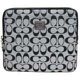 COACH POPPY織紋iPad保護袋(黑灰)