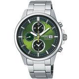 SEIKO SPIRIT 太陽能鬧鈴兩地時間腕錶(V172-0AA0G)-潮綠