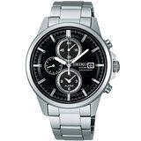 SEIKO SPIRIT 太陽能鬧鈴兩地時間腕錶(V172-0AA0D)-黑