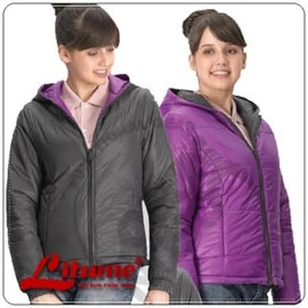 意都美Litume 女 Primaloft 超輕量透氣防風保溫棉外套_深灰/紫 H7017