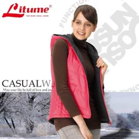 【意都美 Litume】↘零碼出清 女 Primaloft 超輕量透氣防風保溫棉背心(雙面穿)_桃紅 H7026