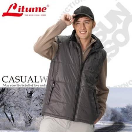 【意都美 Litume】男新款 Primaloft 超輕量透氣防風保溫棉背心(雙面穿)_深灰 H7025