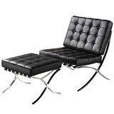 顛覆設計 生活品味黑色休閒皮椅(附腳椅)