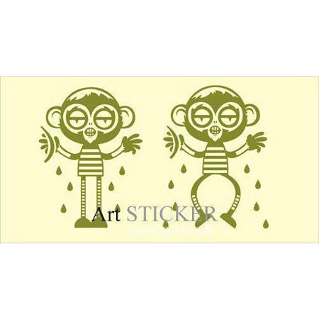 Art STICKER壁貼 。 滑稽小猴-兩隻 (A010)
