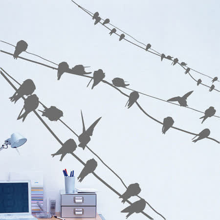 Art STICKER璧貼 。 Birds on wires (A013)