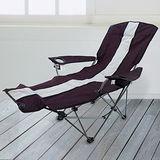 【LIFECODE】豪華折疊躺椅-有扶手杯架設計(紫色)