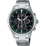 SEIKO 王者之劍太陽能鬧鈴兩地時間腕錶(V174-0AA0G)-黑/綠