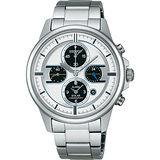 SEIKO 太陽能鬧鈴兩地時間限量腕錶(V174-0AB0S)-銀