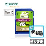 Apacer宇瞻 16GB SDHC Class10記憶卡-送多功能讀卡機