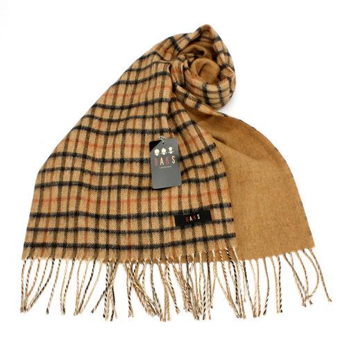 DAKS 格紋CAHSMERE羊毛混織圍巾~駝色
