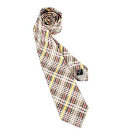 【部落客推薦】gohappy快樂購Vivienne Westwood 斜格紋多線條絲質領帶(灰/黃)價格板橋 百貨 公司