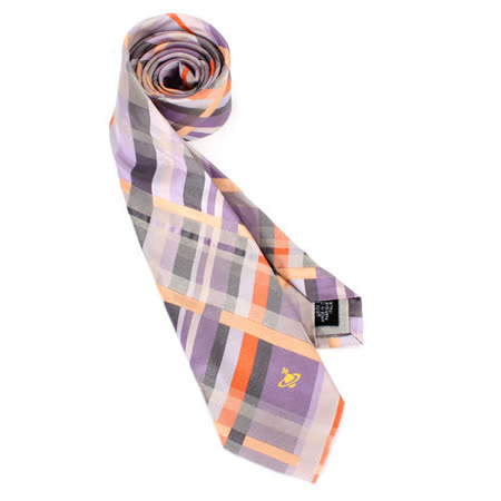 【部落客推薦】gohappy 線上快樂購Vivienne Westwood 斜格紋ORB星球絲質領帶(灰/紫)效果美麗 華 百貨