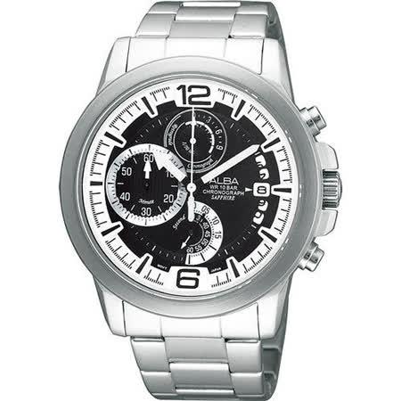 ALBA ACTIVE 街頭時尚計時腕錶(VD50-X010D)-黑/銀