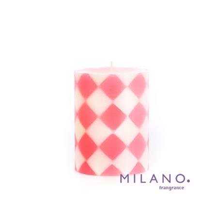 【MILANO 米蘭香氛蠟燭】時尚菱格水蔓草香氛手工蠟燭(3x4吋)