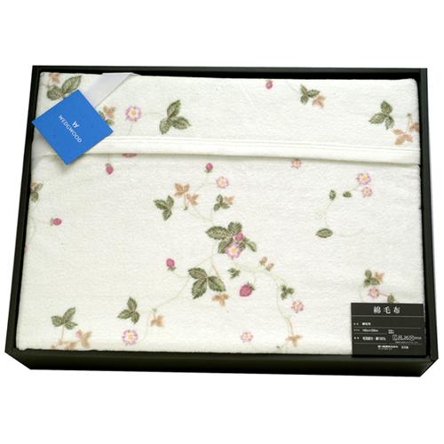 WEDGWOOD繽紛田園野莓圖騰綿毛毯禮盒-粉嫩綠