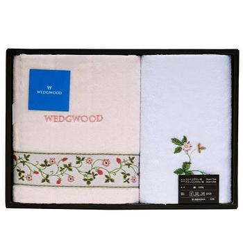 WEDGWOOD繽紛田園野莓毛巾方巾禮盒-粉紅
