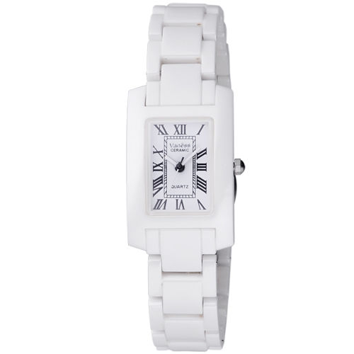 Vaness 經典透亮羅馬時刻陶瓷腕錶(白/小)